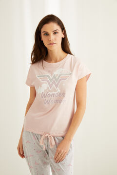 Womensecret Pink short-sleeved Wonder Woman pyjamas. pink