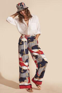 Womensecret Pantalón largo ancho fluido estampado marinero estampado