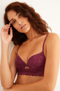 Womensecret Classic maroon lace padded bra red