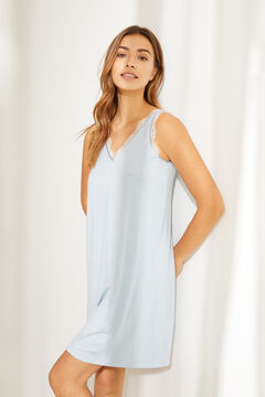 Womensecret Short green nightgown in super soft jersey-knit blue