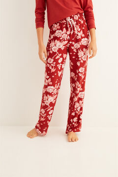 Womensecret Long pyjama bottoms with maroon floral print printed
