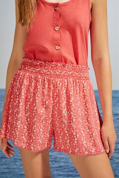 Womensecret Pantalon court imprimé floral rouge imprimé