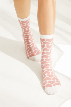 Womensecret Hearts mid-length socks pink