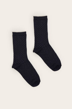 Womensecret Navy lurex long polka-dot print socks blue