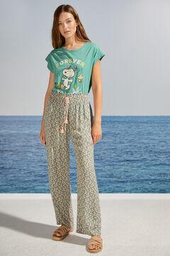Womensecret Pantalon long imprimé floral vert
