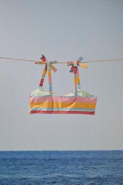 Womensecret Girls' striped flounced bikini top printed