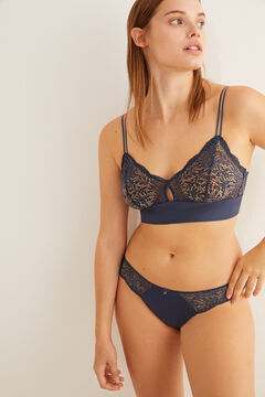 Womensecret blue lace and microfibre triangle bra blue