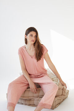 Womensecret Pink super soft jersey-knit short-sleeved pyjamas  pink