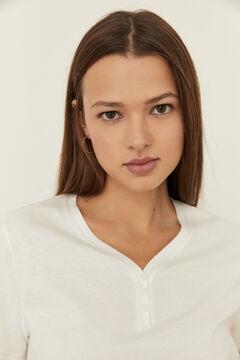 Womensecret Sand cotton short-sleeved V-neck Henley top beige