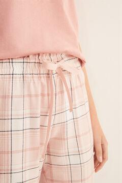 Womensecret Kockás, hosszú, rózsaszín pizsamanadrág rávasalt mintás