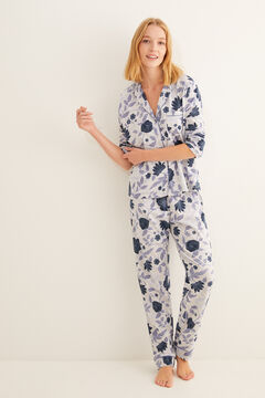 Womensecret Long floral print navy classic pyjamas grey