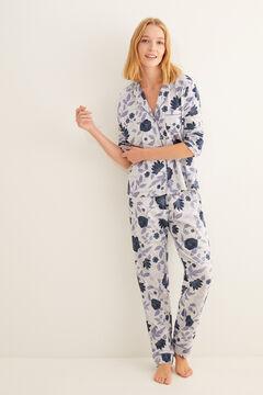 Womensecret Long floral print navy classic pyjamas grey