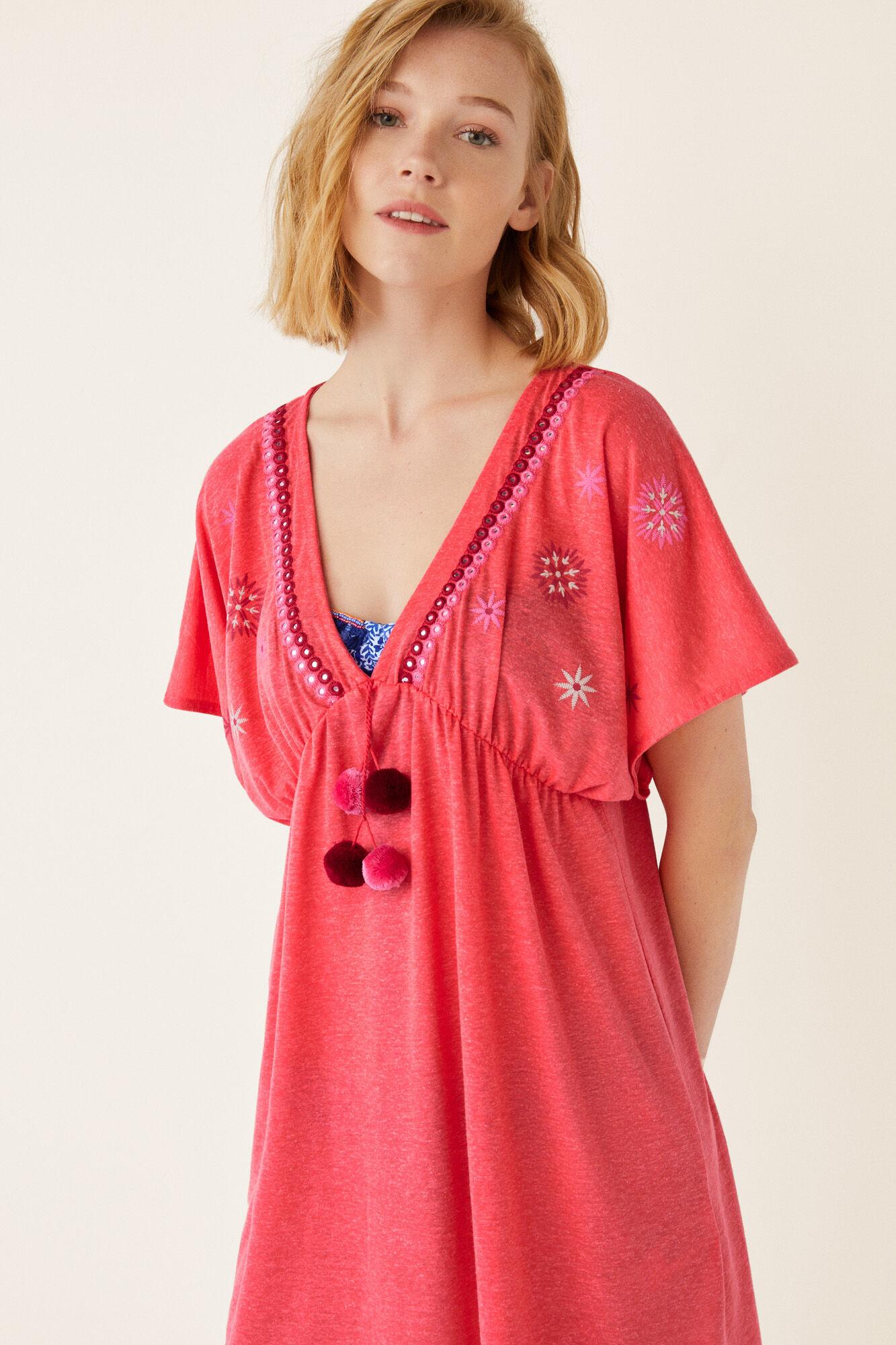 dc6cab4331b Womensecret túnica corta bordados abalorios rosa jpg 600x900 Caftán tunicas  ropa femenina blanco playa