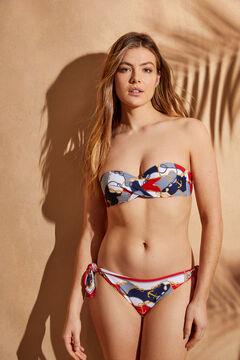 Womensecret Top bikini bandeau drapeado estampado marinero estampado