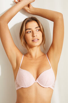 Womensecret GORGEOUS Pink lace strappy back push-up bra pink