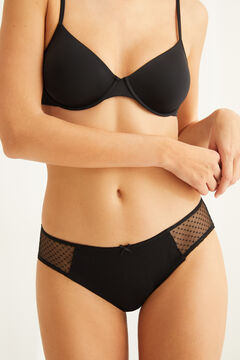 Womensecret Black full Brazilian panty in cotton with plumetis black