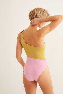 Womensecret Two-tone asymmetric swimsuit yellow