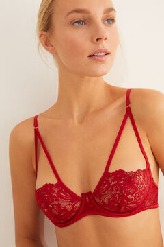 Womensecret Red lace underwired balconette bra red