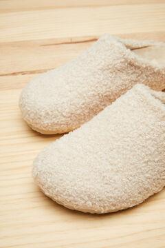 Womensecret Ivory faux shearling mule slippers beige