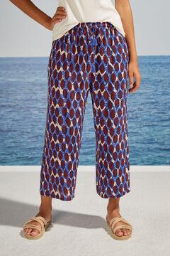Womensecret Mixed tropical print capri pyjama bottoms blue