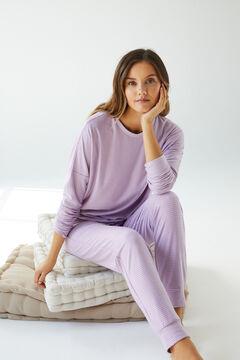 Womensecret Pijama largo rayas morado verde