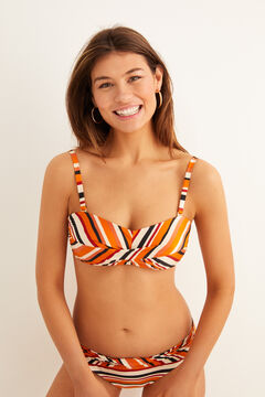 Womensecret Multicoloured striped bandeau bikini top red
