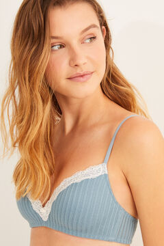 Womensecret Green organic cotton triangle bra blue