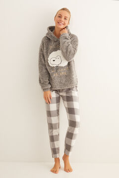 Womensecret Pijama largo fluffy gris Snoopy gris