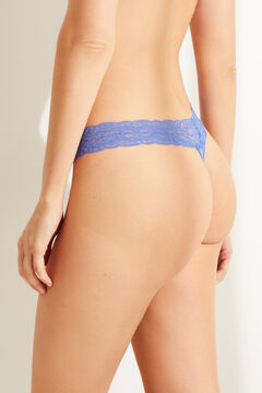 Womensecret Blue lace and microfibre tanga blue