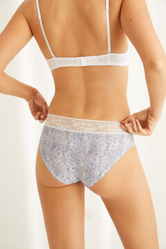 Womensecret Grey full cotton panty with lace grey