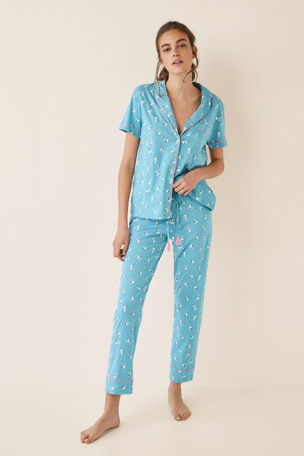 6e0a0bd46d Womensecret Pijama largo camisero azul Snoopy estampado · Añadir al carrito