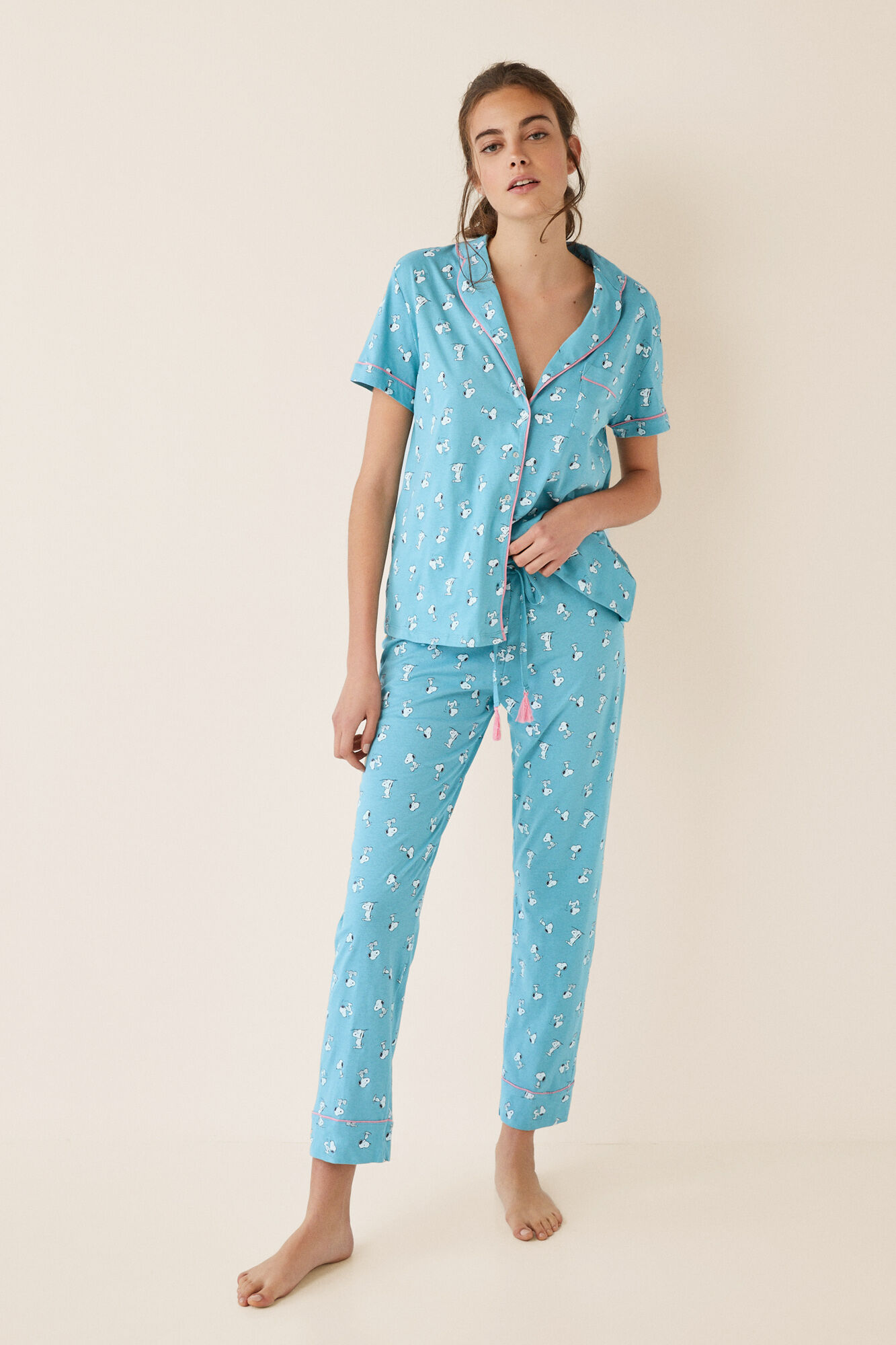 Pyjama Long Chemisier Bleu Women'secret SnoopyPyjamas Longs N80XnOwPk