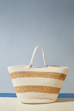 Womensecret Striped raffia basket bag white