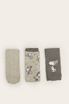 Womensecret 3-pack of long grey Snoopy socks printed