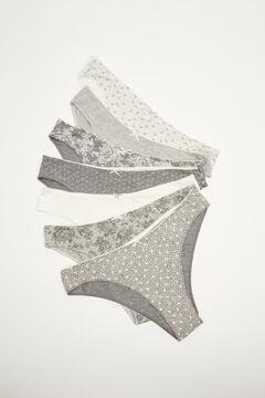 Womensecret 7-pack grey floral cotton Brazilian panties grey