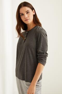 Womensecret Camiseta panadera manga larga algodón gris gris