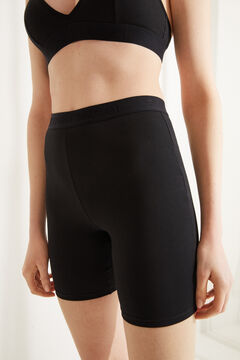 Womensecret Black organic cotton cycling shorts black
