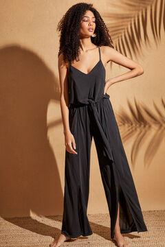 Womensecret Long jersey-knit jumpsuit with openings and sparkly details black