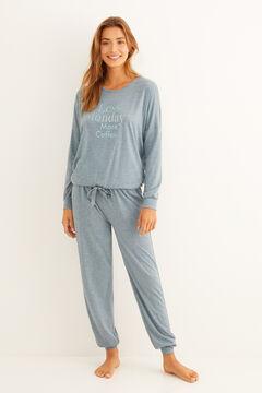 "Womensecret Long green ""Less Monday"" pyjamas green"
