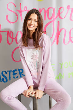 Womensecret Long lilac printed organic cotton pyjamas pink
