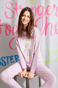 Womensecret Langer Pyjama Bio-Baumwolle mit Print Lila Rosa
