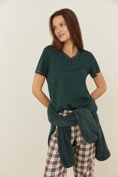 Womensecret Green cotton short-sleeved V-neck Henley top green