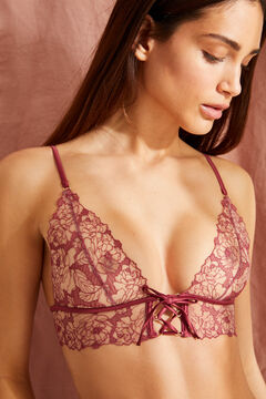 Womensecret FANTASTIC Maroon lace triangle bra printed