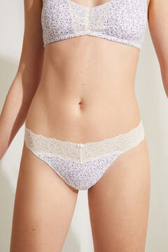 Womensecret Floral organic cotton tanga white