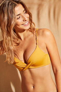 Womensecret Yellow knot and beads bikini top yellow