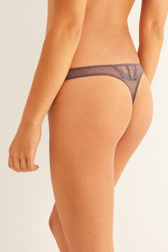 Womensecret Plumetis and lace grey tanga grey