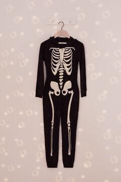 Womensecret Kids cotton skeleton onesie black