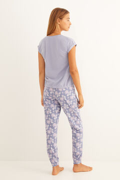 Womensecret Long blue pyjamas with short-sleeve top blue