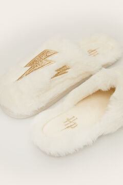 Womensecret Cream teddy fur slingback slippers  beige