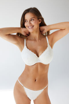 Womensecret BEAUTIFUL Classic floral cotton and lace bra beige